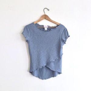 Pastel Blue Split Sleeve Lettuce Edge Mesh T-Shirt